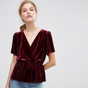 ASOS velvet wrap tea blouse